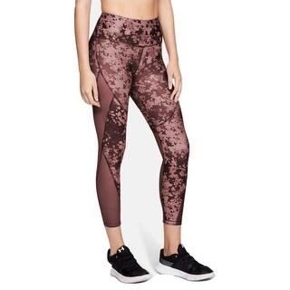 Women's HeatGear Armour Print Ankle Crop, Purple Camo, Medium