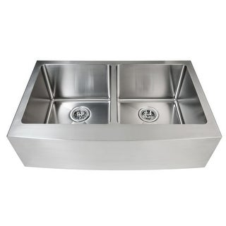 """Miseno MSS163320F5050 32-7/8"""" Apron Front Farmhouse Double Basin Stainless Steel Kitchen Sink with 50/50 Split - Drain"""