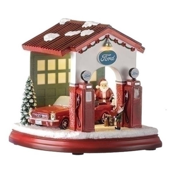 Set of 2 Musical LED Ford Garage with Santa Elf and 1964 Mustang Figurine 7""