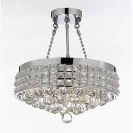 Semi Flush Mount French Empire Crystal Chandelier With 40MM Crystal Balls Crystal Chrome