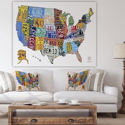 Porch & Den 'License Plate Map USA' Cottage Canvas Art Print