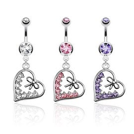 Heart Dangle with multi. CZ and Bow 316L Surgical Steel (Sold Ind.)