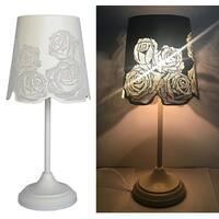 "Kanstar 15"" Hollowed-out Metal Rose Antique White Table Lamp"