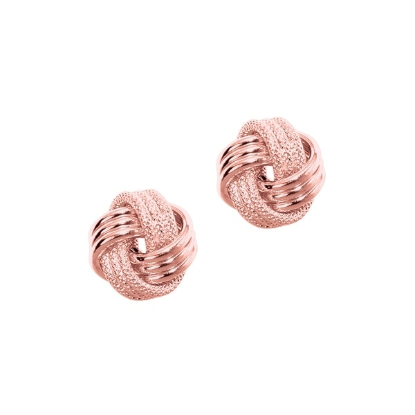 Mcs Jewelry Inc  14 KARAT ROSE GOLD LOVE KNOT EARRINGS (DIAMETER: 9MM) - Pink