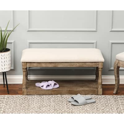 Upholstered Beige Linen Entryway and Bedroom Bench