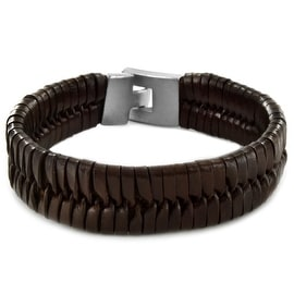 Brown Woven Braided Cuff Leather Bracelet (19 mm) - 8.75 in
