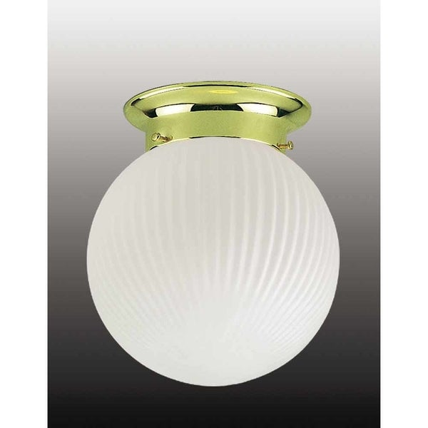 """Volume Lighting V7301 1-Light 6"""" Flush Mount Ceiling Fixture with Frosted Ribbed Glass Shade"""