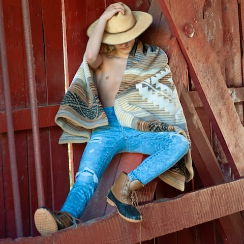 Natural Earthen Toned Southeastern Cotton Blend Throw Blanket by IBENA