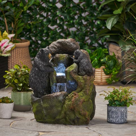 Brookdale Outdoor Tier Bear Fountain 2 by Christopher Knight Home