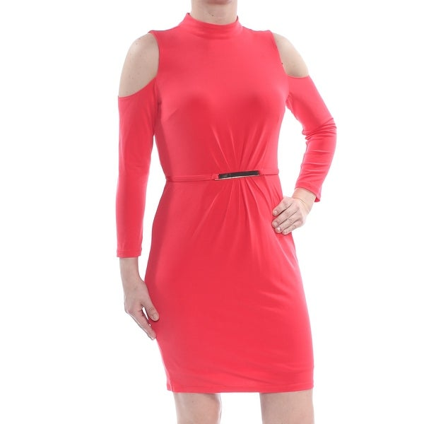 JESSICA SIMPSON Womens Coral Cold Shoulder Mock Neck Long Sleeve Above The Knee Sheath Party Dress Size: 4