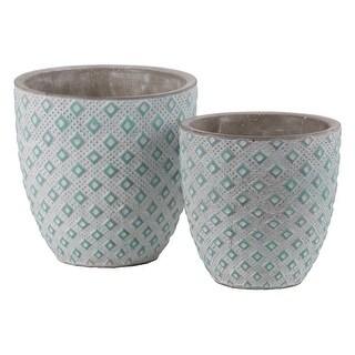 Cement Round Embossed Diamond Design Pot, Set of 2, Turquoise