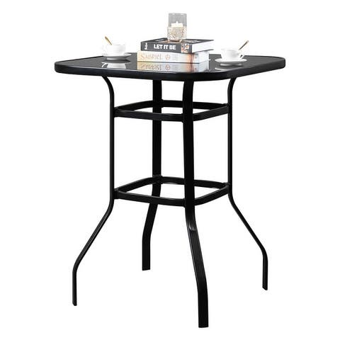 """Outdoor 39"""" Wrought Iron Glass High Bar Table"""
