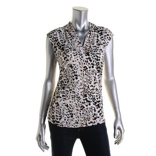 Vince Camuto Womens Matte Jersey Animal Print Blouse