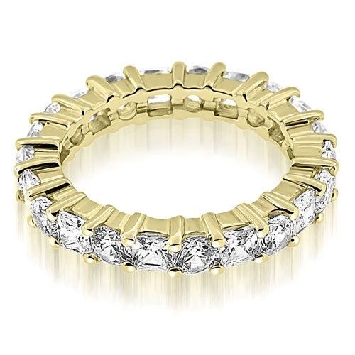 3.50 cttw. 14K Yellow Gold Basket Round and Princess Diamond Eternity Band Ring