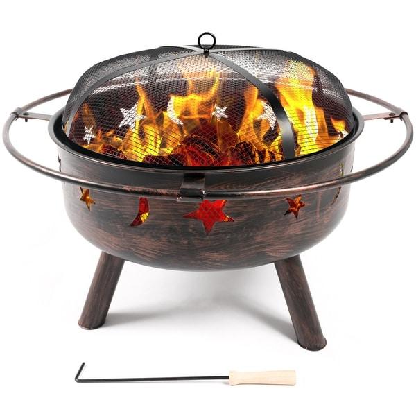 Belleze Outdoor Firepit Diamond Wood-Burning Fire Pit Sky Stars Moons  Design with Lids - Shop Belleze Outdoor Firepit Diamond Wood-Burning Fire Pit Sky Stars