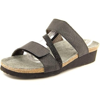 Naot Sheryl Women Open Toe Leather Black Slides Sandal
