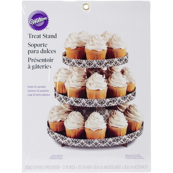 "Treat Stand-Damask 12""X10.5"" Holds 24 Cupcakes"