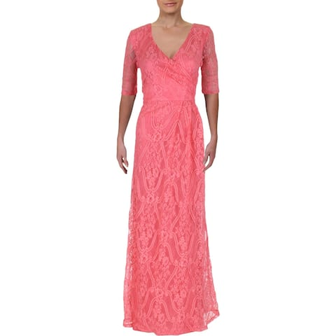 95d0f9c14e8 Ellen Tracy Womens Formal Dress Lace Overlay Surplice