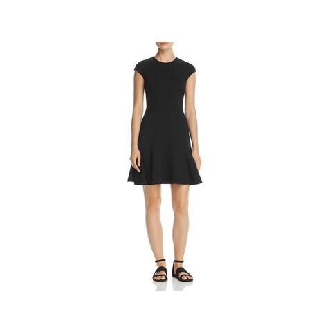 Theory Womens Essential Flare Casual Dress Cap Sleeves Knee-Length