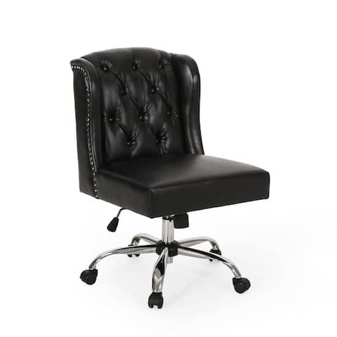 Beltagh Contemporary Wingback Tufted Swivel Office Chair by Christopher Knight Home