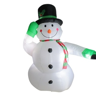 Link to 8' White and Green Animated Inflatable Lighted Standing Snowman Christmas Outdoor Yard Art Decor Similar Items in Christmas Decorations