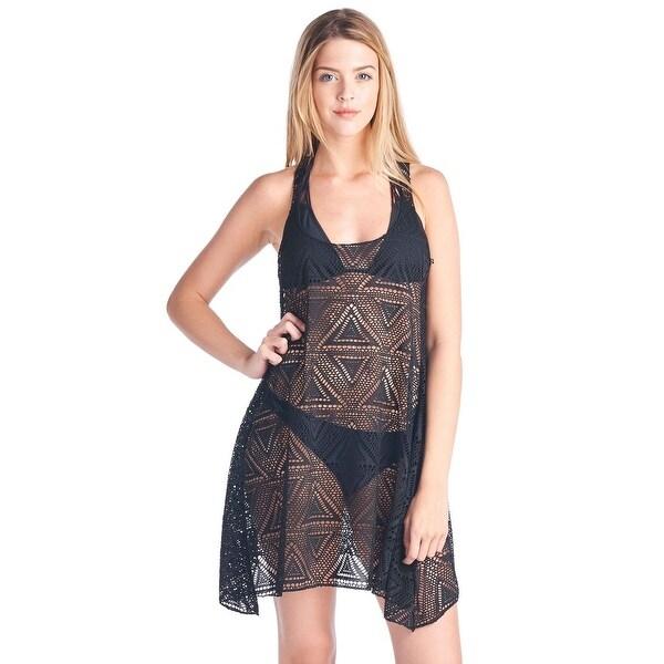 Women's Beach Dress Cover Up T Back Sleeveless Flare Swimwear Bikini Swimsuit