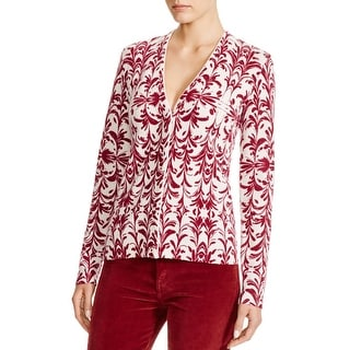 Tory Burch Womens Cardigan Sweater Printed Long Sleeves
