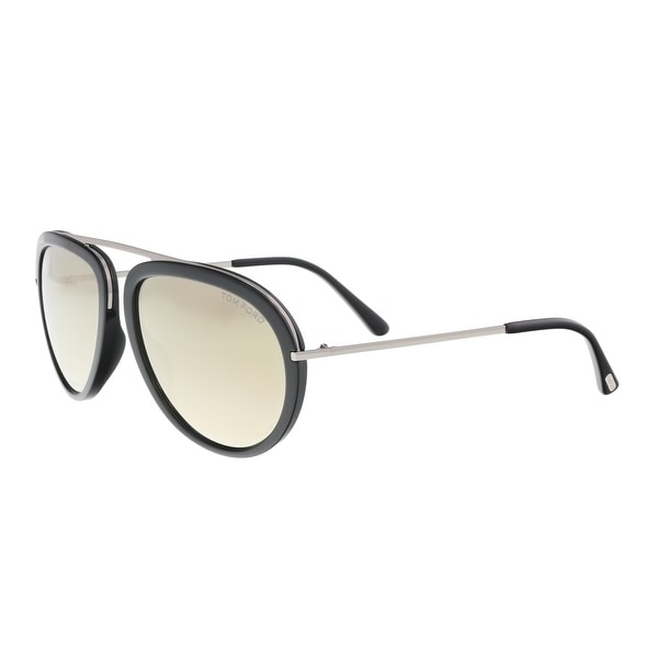 e35588b814cf Shop Tom Ford FT0452 S 01C Stacy Black Silver Oval Sunglasses - 57 ...
