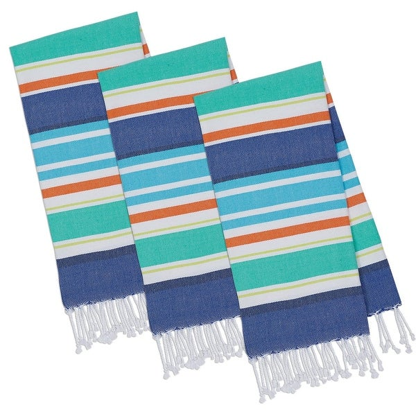 "Set of 3 Vibrantly Colored Beachy Blue Stripes Fouta Towels with Fringe 20"" x 30"""