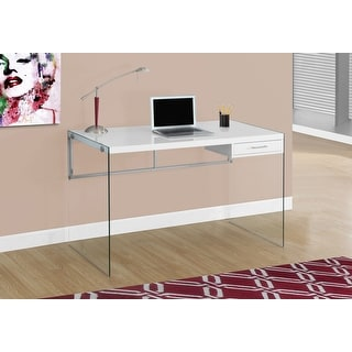 Monarch 7209 Glossy White Tempered Glass 48nch Computer Desk
