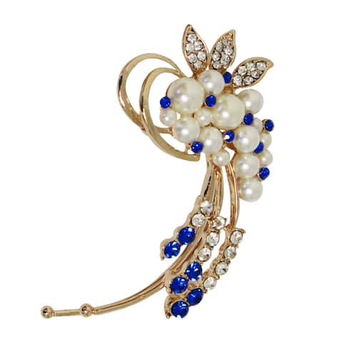 Evelots Ear Cuff Earring-Crystal Pearl Flower-Goldtone-Sparkling Glass Stones