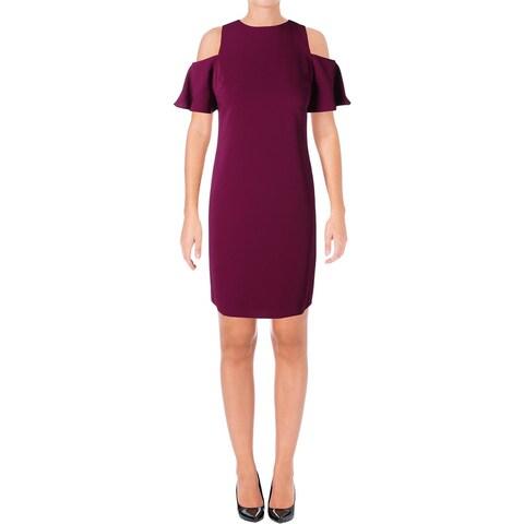 Lauren Ralph Lauren Womens Deago Wear to Work Dress Crepe Cold Shoulder