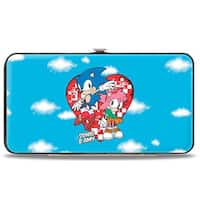 Sonic Classic Sonic & Amy Pose Heart Clouds Hinged Wallet - One Size Fits most