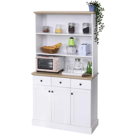"""HOMCOM 71"""" Kitchen Pantry Buffet Server Hutch Storage Sideboard, Bookcase with Drawers & Cabinets for Living Room, White"""