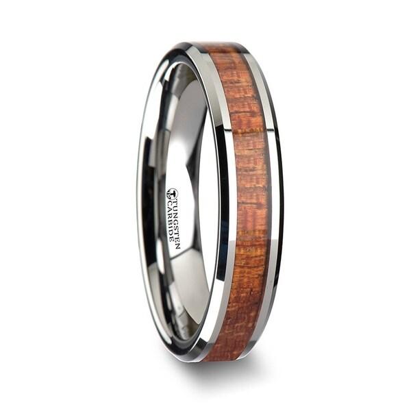 THORSTEN - KHAYA Tungsten Band with Polished Bevels and Exotic Mahogany Hard Wood Inlay - 4mm