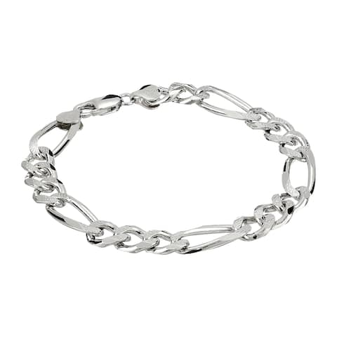 Men's Figaro Link Chain Bracelet in Rhodium-Plated Sterling Silver