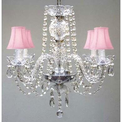 Swarovski Crystal Trimmed Chandelier Lighting & Pink Shades