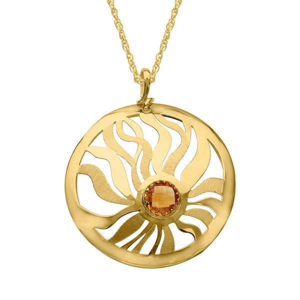 1 3/4 ct Natural Citrine Medallion Pendant in 14K Gold - Yellow
