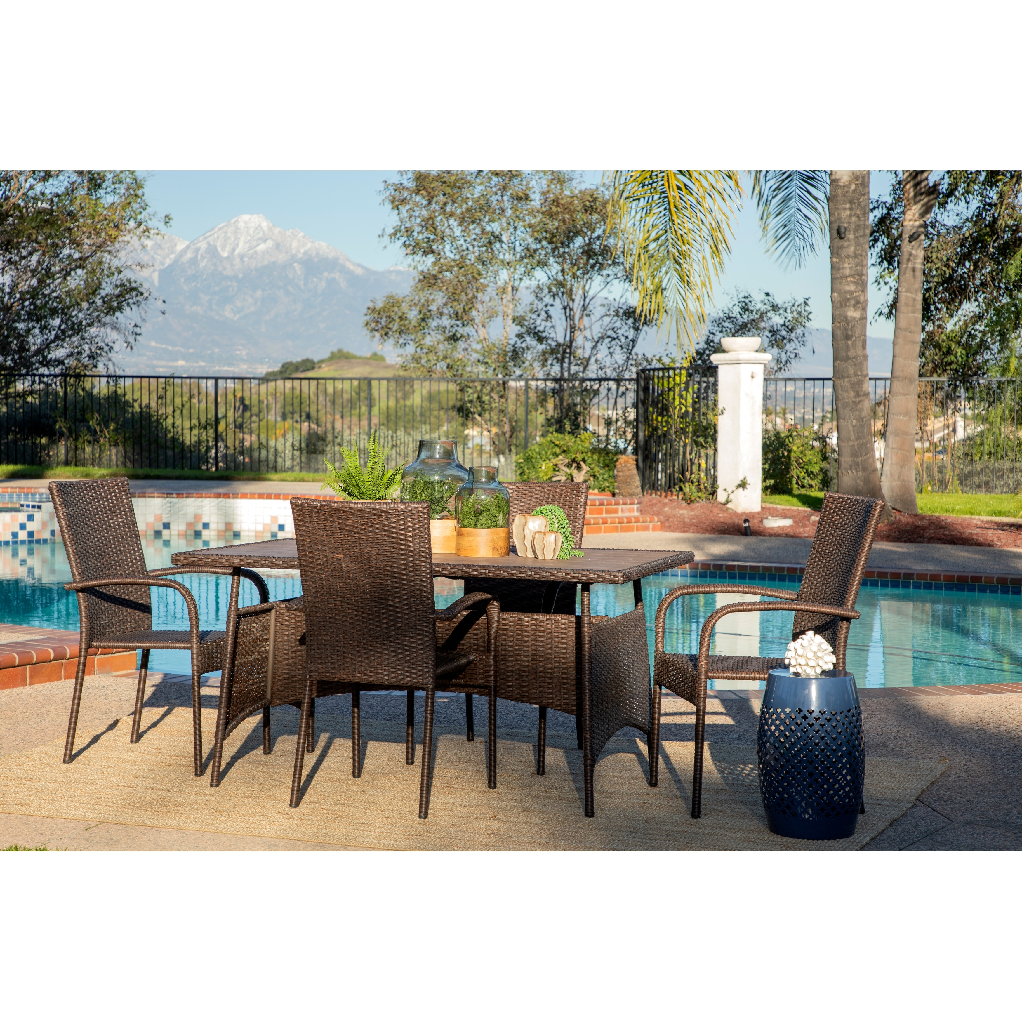 Rhonn 5 Piece Brown Wicker Outdoor Dining Set By Havenside Home Overstock 29925191