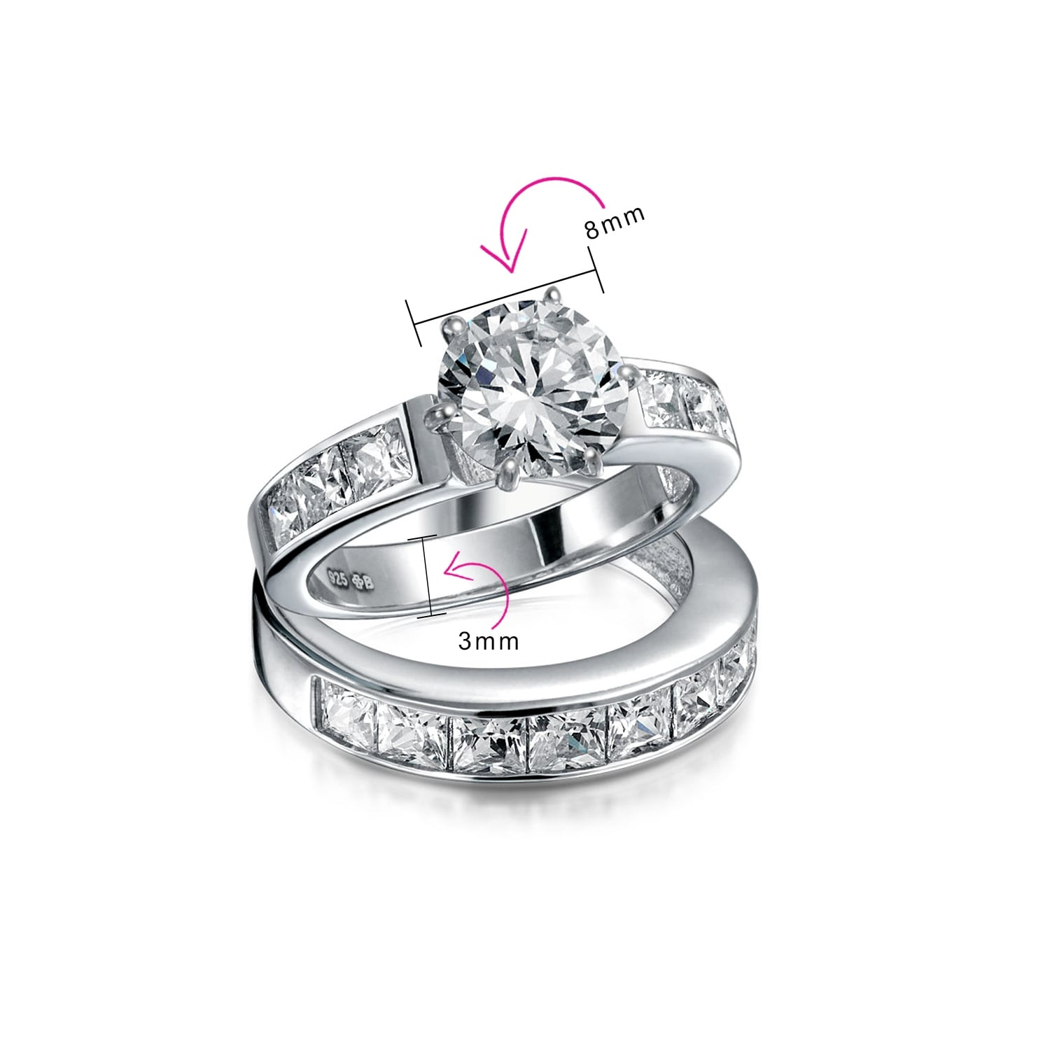 Shop 3ct Solitaire Aaa Cz Band Engagement Wedding Ring Set Sterling Silver Overstock 18112155