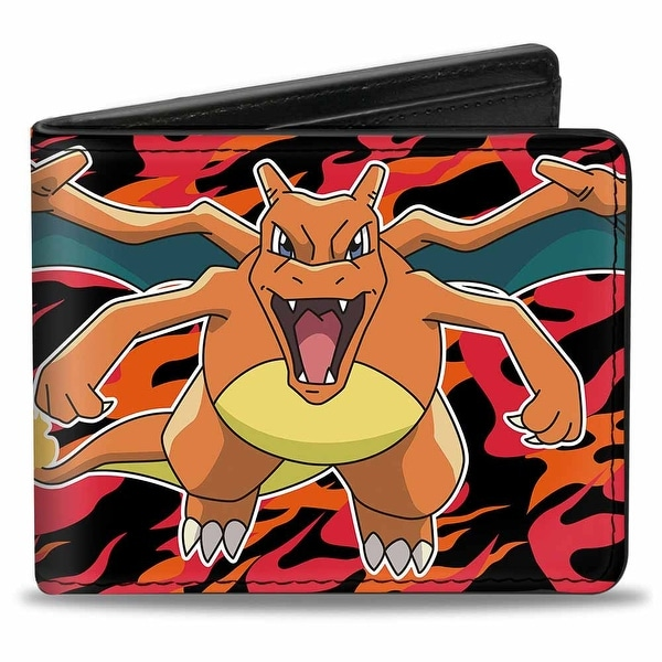 Pokmon Charizard Close Up Pose2 Flames Black Orange Red Bi Fold Wallet - One Size Fits most
