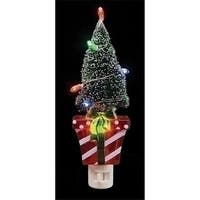 Red and White Present with Frosted Green Lighted Tree Decorative