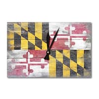 Rustic Maryland State Flag - Lantern Press Artwork (Acrylic Wall Clock) - acrylic wall clock