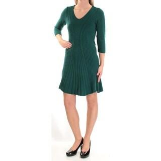 Womens Green 3/4 Sleeve Below The Knee Shift Dress Size: XS