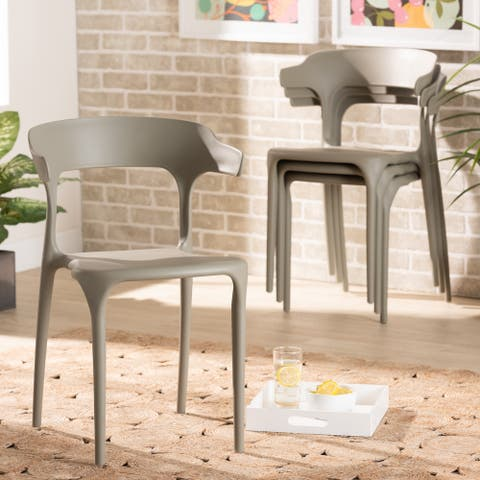 Gould Modern and Transtional Plastic Dining Chair Set (4PC)