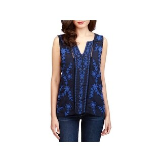 Lucky Brand Womens Casual Top Embroidered Ladder Stitch