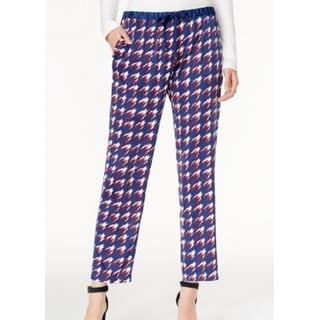 Tommy Hilfiger NEW Blue Red Women's Size XL Houndstooth Print Pants