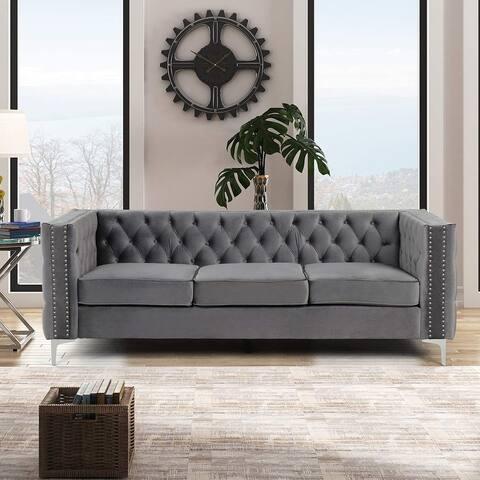 Morden Fort Modern Sofa with Deep Dutch Velvet, Iron Legs