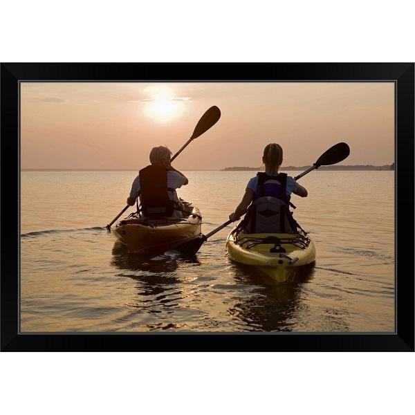 """""""Couple kayaking"""" Black Framed Print"""
