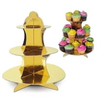 Club Pack of 12 Decorative Holiday Round Metallic Gold Snack/Cupcake Stands 13.5""